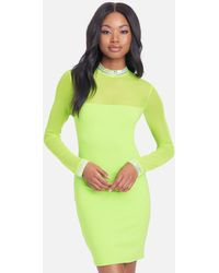 Bebe Crystal Mesh Mini Dress - Green