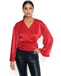 Bebe Bell Sleeve Surplice Top - Red