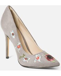 Bebe Leyton Embroidery Pumps - Gray