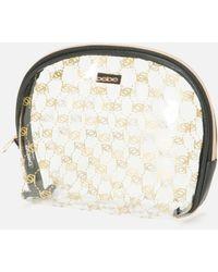 Bebe Silver And Gold Check Cosmetic Bag - Metallic