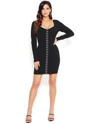 Bebe Corset Front Bandage Dress - Black