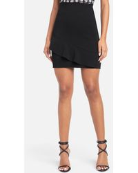 Bebe Ruffle Detail Mini Skirt - Black