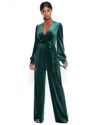 Bebe Velvet Deep V Jumpsuit - Green