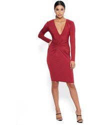 Bebe Twist Front V Dress - Red