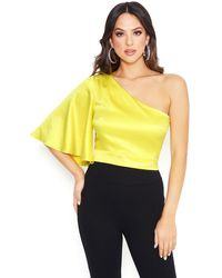 Bebe Charmeuse One Shoulder Top - Yellow