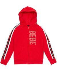 Bebe Girls Sparkly Logo Fleece Jacket - Red