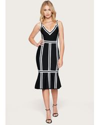 Bebe Contrast Midi Bandage Dress - Black