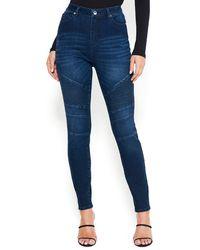 Bebe Moto Detail Skinny Jeans - Blue