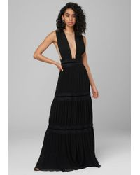 Bebe Pleated Sheer Plunge Gown - Black