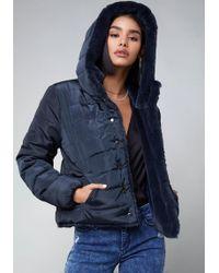 Bebe - Faux Fur Puffer Jacket - Lyst