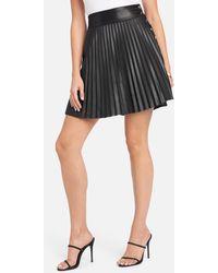 Bebe Vegan Leather Pleated Side Snap Skirt - Black