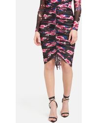 Bebe Printed 4 Way Stretch Mesh Ruched Skirt - Multicolor