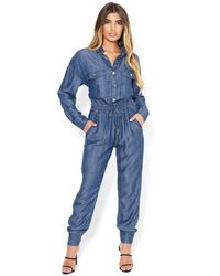 Bebe Ali Long Sleeve Jumpsuit - Blue