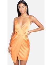 Bebe Surplice Satin Mini Dress - Orange