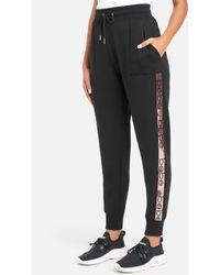 Bebe Sport Sequin Stripe Jogger Pant - Black
