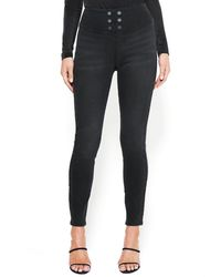 Bebe Button Trim High Waist Jeans - Black