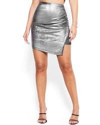 Bebe Metallic Silky Knit Slit Mini Skirt
