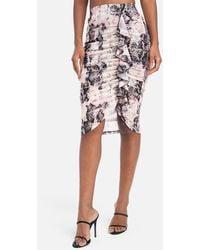Bebe Printed Mesh Ruffle Skirt - Multicolor