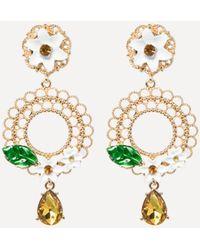 Bebe - Floral Drop Hoop Earrings - Lyst