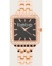 Bebe Square Face Metal Watch - Metallic