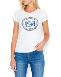 Bebe Logo Interlock Rib Tee Shirt - White