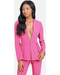 Bebe Stretch Twill Lace Up Back Detail Jacket - Pink