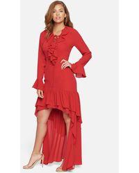 Bebe Ruffled Hi-lo Gown - Red