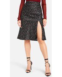 Bebe Satin Mini Petal Midi Skirt - Black