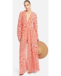 Bebe Printed Deep V Maxi Dress - Multicolour