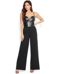 Bebe Faux Leather Bustier Jumpsuit - Black
