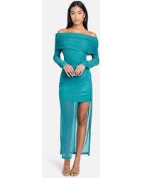 Bebe Off Shoulder Asymmetrical Mesh Gown - Blue