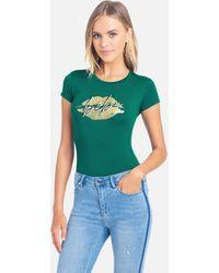 Bebe Logo Cursive Lip Tee Shirt - Green