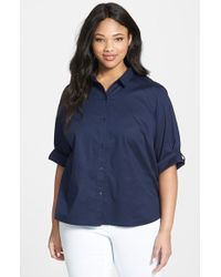 Eileen Fisher Classic Collar Cotton Lawn Shirt - Lyst