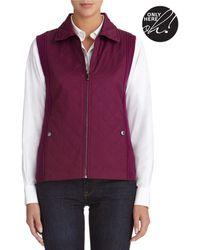 Jones New York Quilted Vest with Zip Front - Lyst