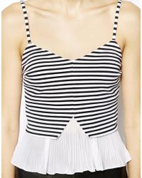 Asos Cami Top With Pleated Hem - Lyst