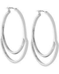 Vince Camuto - Silvertone Cutout Hoop Earrings - Lyst