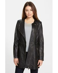 Lamarque | Asymmetrical Collarless Leather Coat | Lyst