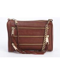 Rebecca Minkoff Burgundy Leather Mini 5 Zip Triple Zipper Detail Crossbody Bag - Lyst
