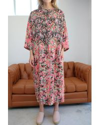 Anntian - Silk Simple Dress Print L Pink - Lyst