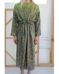 Anntian Silk Simple Dress Print H - Green