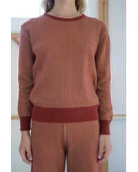Beklina Cashmere Ribbed Crew Sweater Rust/gold - Multicolor