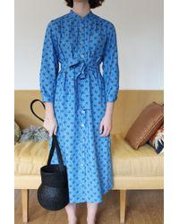 No. 6 Elena Shirt Dress Cobalt French Floral Poplin - Blue