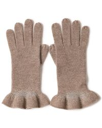 Bellemere New York Drilling Ruffled 100% Cashmere Knitted Gloves - Brown