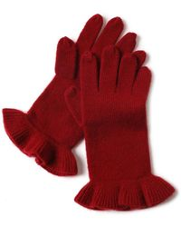 Bellemere New York Chic Ruffled 100% Cashmere Knitted Gloves - Red