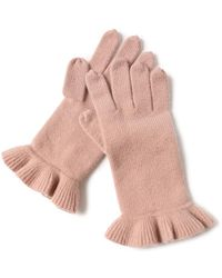Bellemere New York Chic Ruffled 100% Cashmere Knitted Gloves - Pink
