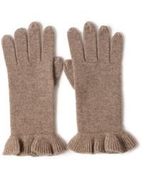 Bellemere New York Chic Ruffled 100% Cashmere Knitted Gloves - Brown