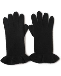Bellemere New York Chic Ruffled 100% Cashmere Knitted Gloves - Black