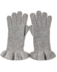 Bellemere New York Drilling Ruffled 100% Cashmere Knitted Gloves - Grey