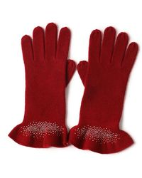 Bellemere New York Drilling Ruffled 100% Cashmere Knitted Gloves - Red