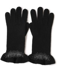 Bellemere New York Drilling Ruffled 100% Cashmere Knitted Gloves - Black